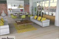 Open plan living room with balcony