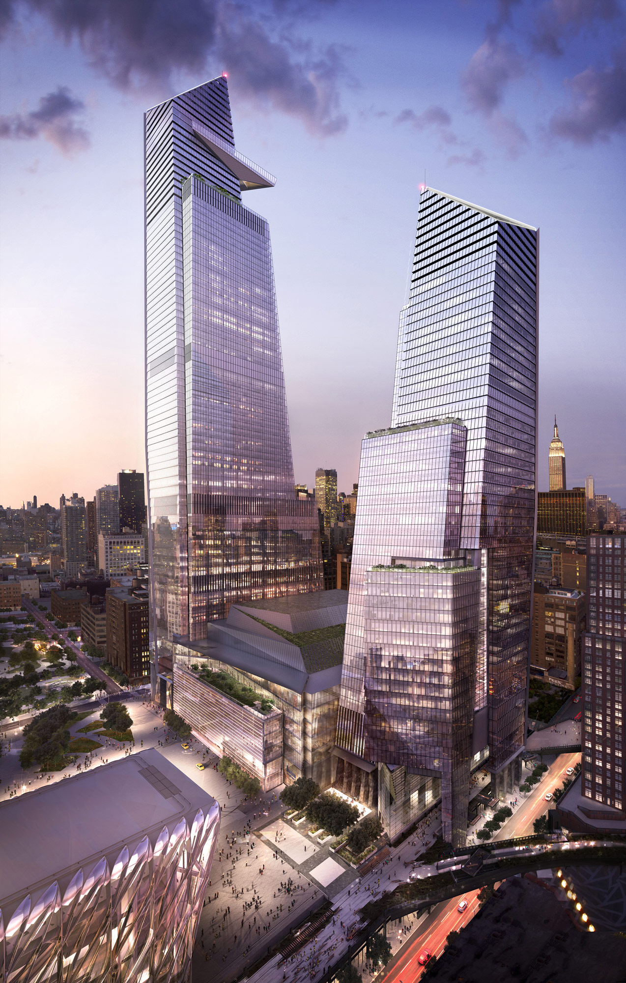 10 and 30 Hudson Yards, with Retail, Looking Northeast (c) Related, Oxford