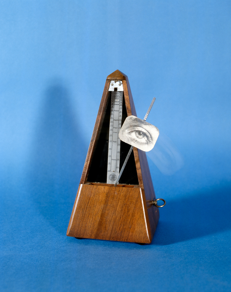 Man Ray (1890–1976); Indestructible Object, originally made 1928, destroyed Paris 1957, this replica 1959; Metronome with gelatin silver print of Lee Miller's eye; 9 1/8 x 4 1/4 x 4 1/4 in. (23 x 11 x 11 cm); The Penrose Collection, Sussex, England; © 2011 Man Ray Trust/Artists Rights Society (ARS), New York/ADAGP, Paris/Courtesy of The Penrose Collection. All rights reserved.