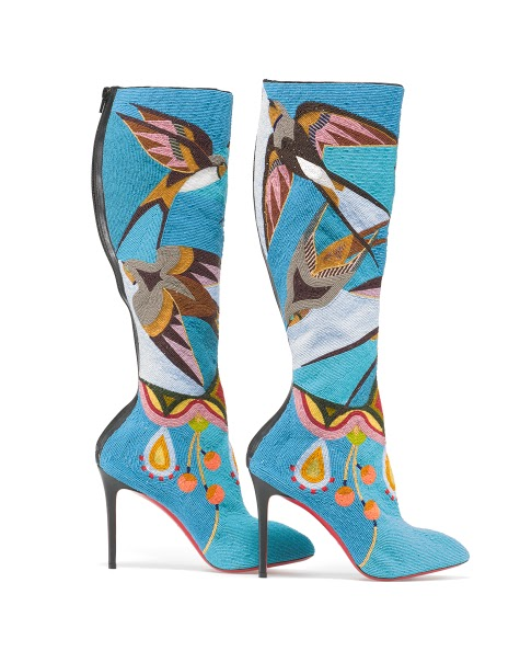 Jamie Okuma (Luiseño/Shoshone-Bannock). Boots, 2013–14. Glass beads on boots designed by Christian Louboutin. Museum commission with support from Katrina Carye, John Curuby, Dan Elias and Karen Keane, Cynthia Gardner, Merry Glosband, and Steve and Ellen Hoffman, 2014.44.1AB. © 2015 Peabody Essex Museum. Photography by Walter Silver.